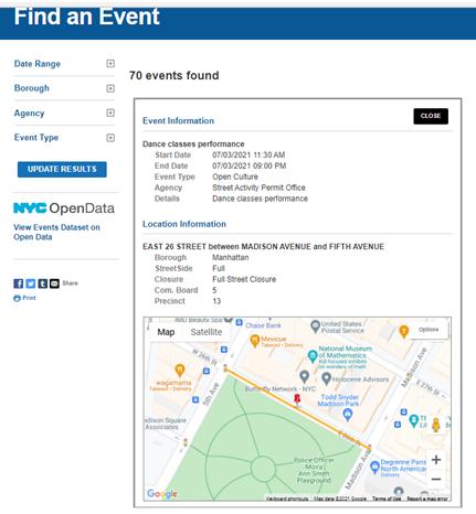 公式NYCイベント許可サイトでのオープンカルチャーイベント紹介ページ(ニューヨーク市HP掲載資料)