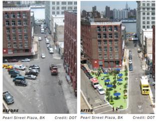交通島スペースを利用したプラザの事例(ニューヨーク市プラザプログラムアプリケーションガイドラインより抜粋)交通島スペースを利用したプラザの事例(ニューヨーク市プラザプログラムアプリケーションガイドラインより抜粋)